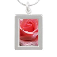 Pink Rose with Dew Silver Portrait Necklace