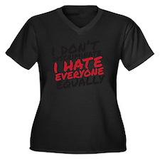 Hate Everyon Women's Plus Size Dark V-Neck T-Shirt