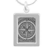 Compass Rose Silver Portrait Necklace