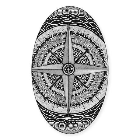 Compass Rose Sticker (Oval)