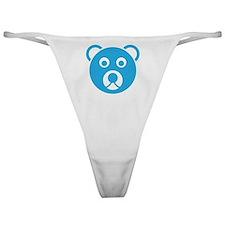 Cute Blue Teddy Bear Face Classic Thong