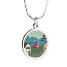 Thomas Point Lighthouse Silver Round Necklace