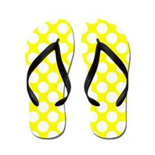 Yellow and White Polka Dot Flip Flops
