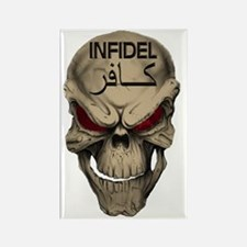 Red Eyed Infidel Skull Rectangle Magnet