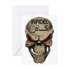 Red Eyed Infidel Skull Greeting Card