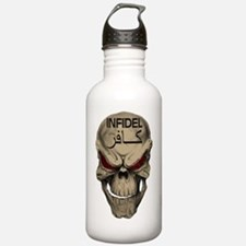 Red Eyed Infidel Skull Sports Water Bottle