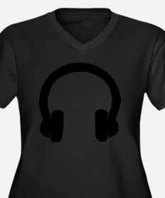 Headphones Women's Plus Size Dark V-Neck T-Shirt