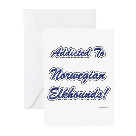 Elkhound Addicted Greeting Cards (Pk of 10)