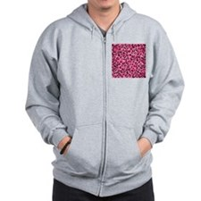 Bright Pink Leopard Print. Zip Hoodie