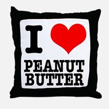 I Heart (Love) Peanut Butter Throw Pillow
