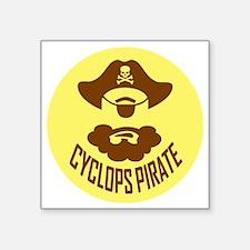 """Cyclops Pirate Square Sticker 3"""" x 3"""""""