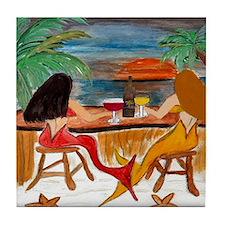 Mermaid Tiki Wine Bar Tile Coaster