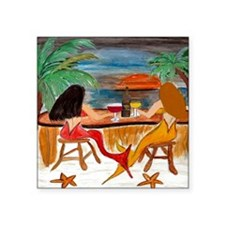 "Mermaid Tiki Wine Bar Square Sticker 3"" x 3"""