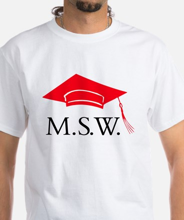 Red MSW Grad Cap White T-Shirt