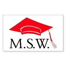 Red MSW Grad Cap Rectangle Bumper Stickers