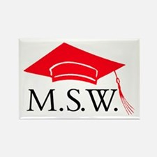 Red MSW Grad Cap Rectangle Magnet