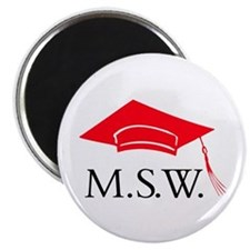 Red MSW Grad Cap Magnet