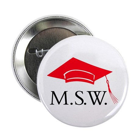 Red MSW Grad Cap Button