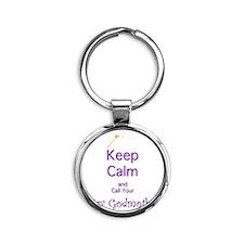 Keep Calm and Call your Fairy Godmo Round Keychain