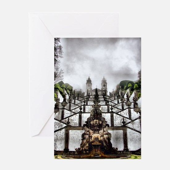 The Baroque staircase of Bom Jesus i Greeting Card