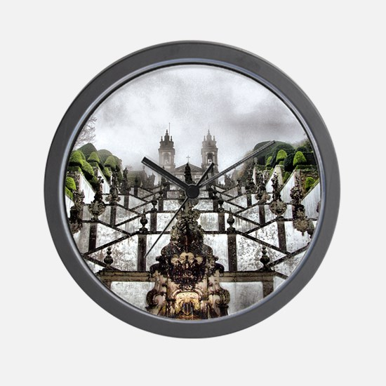 The Baroque staircase of Bom Jesus in B Wall Clock