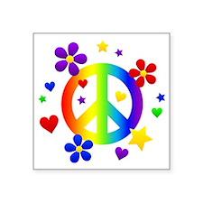 "Rainbow Peace Sign Square Sticker 3"" x 3"""