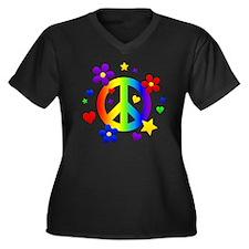Rainbow Peac Women's Plus Size Dark V-Neck T-Shirt