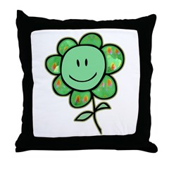 Happy Baby Flower (green) Throw Pillow
