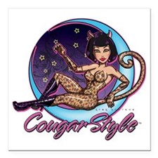 """Cougar Style Square Car Magnet 3"""" x 3"""""""