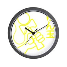 yellow Kendama japanese DOWN b Wall Clock