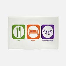 Eat Sleep Social Services Rectangle Magnet (100 pa