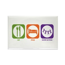 Eat Sleep Social Services Rectangle Magnet