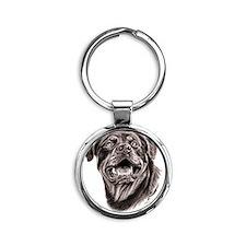 Rottweiler Sketch Round Keychain