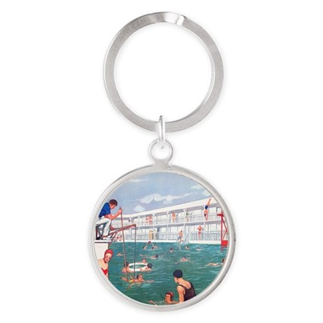 retro swimming pool round keychain by admin cp520804