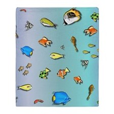 All the Fish Under the Sea Throw Blanket