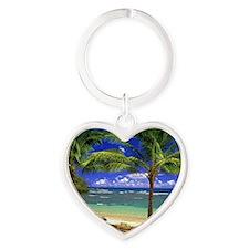 Tropical beach Heart Keychain