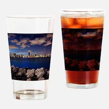 Miami Night Skyline Drinking Glass