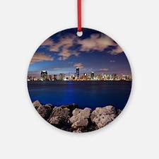 Miami Night Skyline Round Ornament