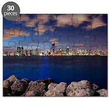 Miami Night Skyline Puzzle
