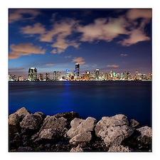 "Miami Night Skyline Square Car Magnet 3"" x 3"""