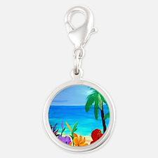 Tropical Beach Silver Round Charm