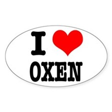 I Heart (Love) Oxen Oval Decal