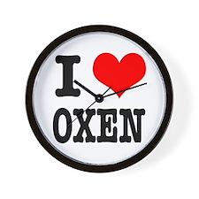 I Heart (Love) Oxen Wall Clock