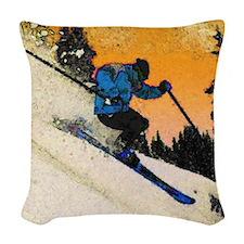 skier1 Woven Throw Pillow