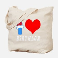 I Love Biathlon Design Tote Bag