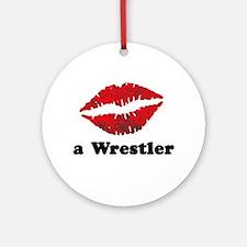 Kiss a Wrestler Ornament (Round)