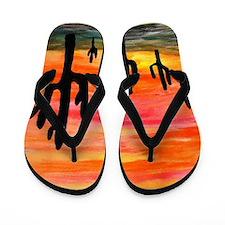 Cactus Desert Sunset Flip Flops
