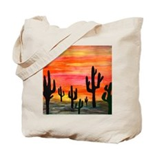 Cactus Desert Sunset Tote Bag