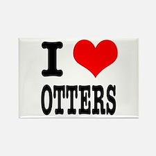 I Heart (Love) Otters Rectangle Magnet