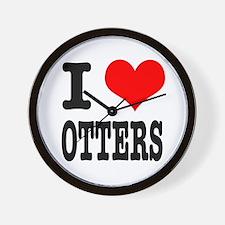 I Heart (Love) Otters Wall Clock